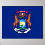 Michigan State Flag Design Poster