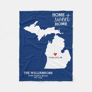 Michigan State Map Custom Names, City Date, Color Fleece Blanket