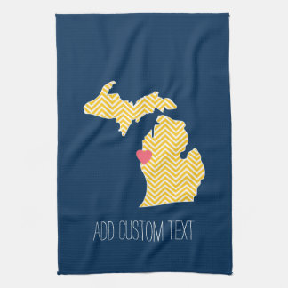 Michigan State Map with Custom Love Heart and Name Hand Towels