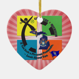 MICHIGAN STATE MOTTO GEOCACHER CERAMIC HEART DECORATION
