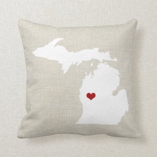 Michigan State Pillow Faux Linen Personalized