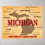 Michigan State Pride Map Silhouette Poster
