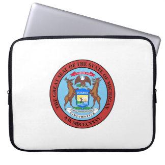 Michigan state seal america republic symbol flag laptop sleeve
