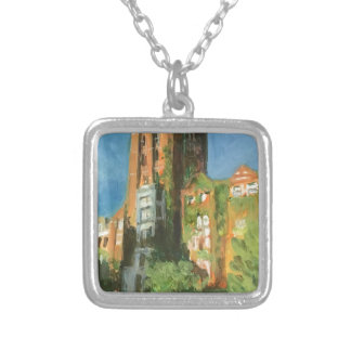 michigan union silver plated necklace