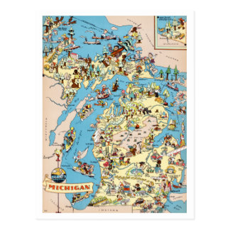 Michigan Vintage Funny Map Postcard