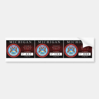 Michigan Zombie Hunting Permit Bumper Sticker