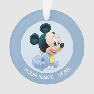 Mickey Baby's First Christmas Blue   Add Your Name Ornament