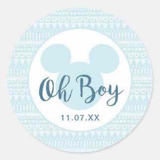 Mickey | Blue Aztec Baby Shower Classic Round Sticker