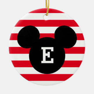 Mickey Head Silhouette Striped Pattern | Monogram Ceramic Ornament