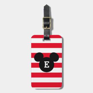 Mickey Head Silhouette Striped Pattern | Monogram Luggage Tag