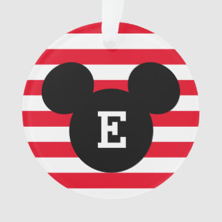 Mickey Head Silhouette Striped Pattern | Monogram Ornament