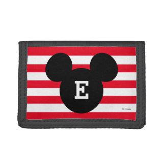 Mickey Head Silhouette Striped Pattern | Monogram Trifold Wallet