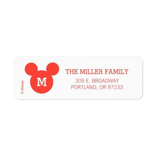 Mickey & Minnie   Ho Ho Ho Red Icon with Monogram Return Address Label