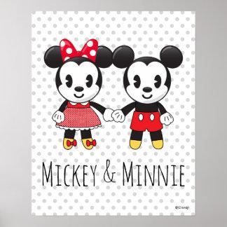 Mickey & Minnie Holding Hands Emoji 3 Poster