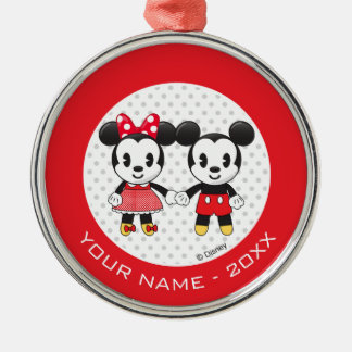 Mickey Minnie Holding Hands Emoji | Add Your Name Metal Ornament