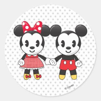 Mickey & Minnie Holding Hands Emoji Classic Round Sticker