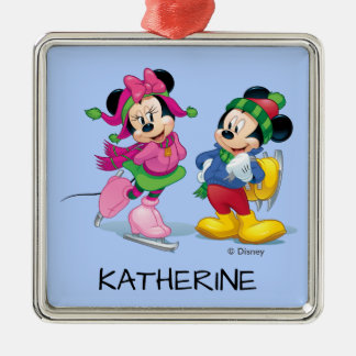 Mickey & Minnie   Ice Skating Add Your Name Metal Ornament