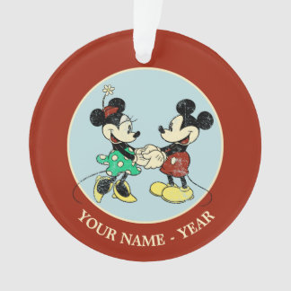Mickey & Minnie   Vintage Add Your Name Ornament