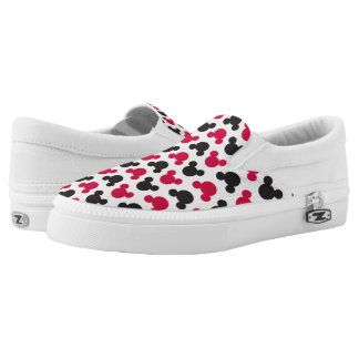 Mickey Mouse | Black and Red Pattern Slip-On Shoes
