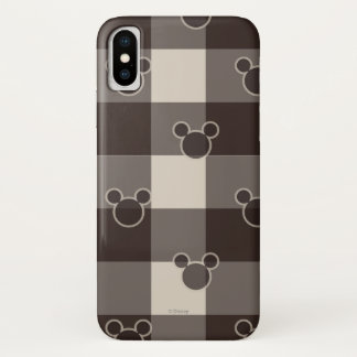 Mickey Mouse | Brown Plaid Pattern iPhone X Case