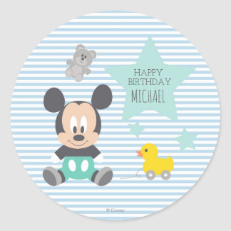 Mickey Mouse | First Birthday Classic Round Sticker