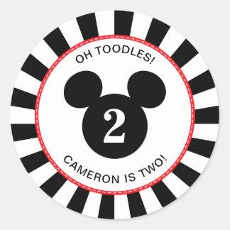Mickey Mouse | Icon Black & White Striped Birthday Classic Round Sticker
