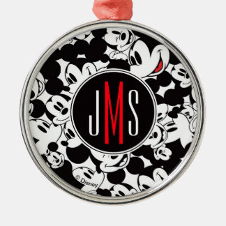 Mickey Mouse | Monogram Crowd Pattern Metal Ornament