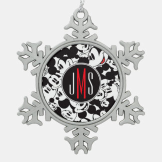Mickey Mouse | Monogram Crowd Pattern Snowflake Pewter Christmas Ornament
