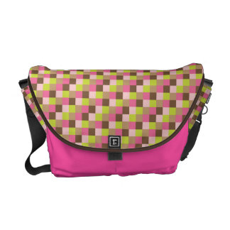 Micro Check Pattern Bright Hot PInk LIme Brown Messenger Bags