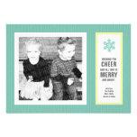 Micro Chevron Aqua & Charcoal Photo Christmas Card Invite