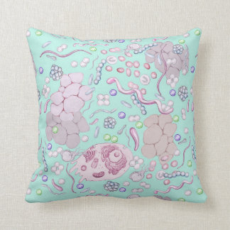 Microbiology Pattern in Blue Cushion