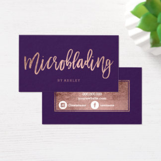 Microblading rose gold typography purple grape business card