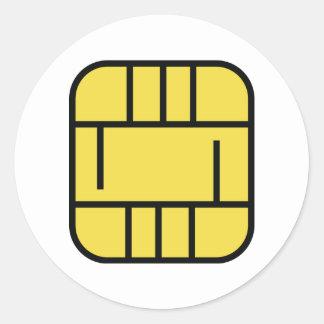 microchip credit card classic round sticker