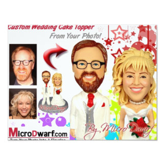 MicroDwarf.com Wedding Cake Toppers 11 Cm X 14 Cm Invitation Card