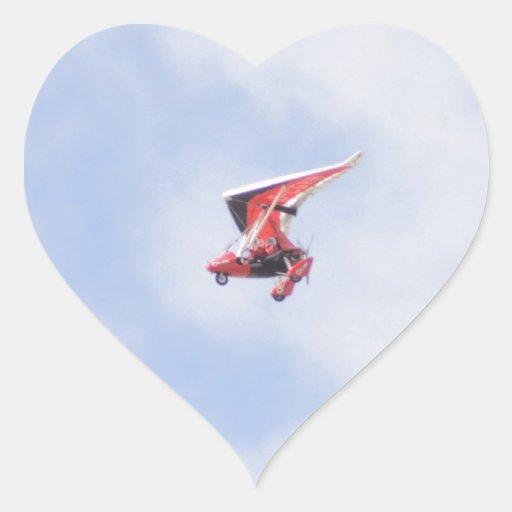 Microlight Airplane Heart Stickers
