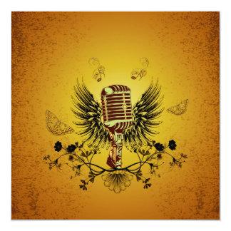 Microphone 13 Cm X 13 Cm Square Invitation Card