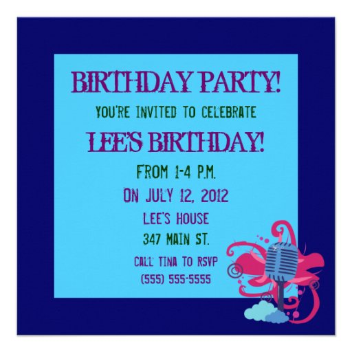 Microphone Birthday Party Invitations