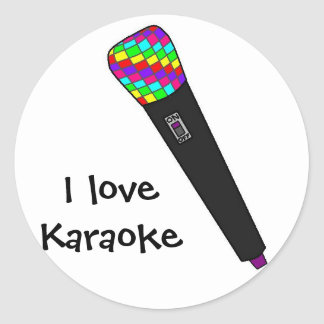 microphone disco round sticker