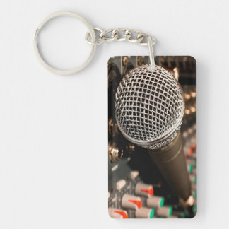 Microphone Double-Sided Rectangular Acrylic Key Ring