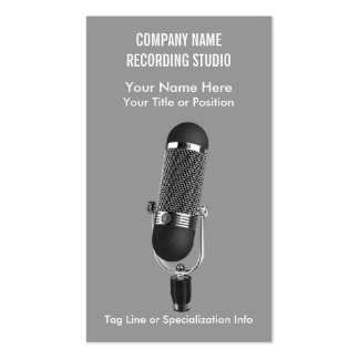 Microphone Music Studio or Entertainment Pack Of Standard Business Cards