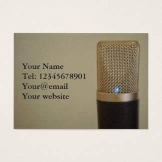 Microphone on light background business card