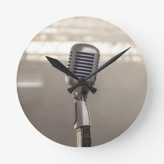 Microphone rock and roll wallclocks