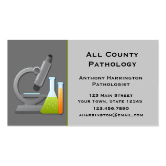 Microscope and Test Tubes, Gray Pack Of Standard Business Cards