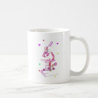 microscope in pink coffee mug