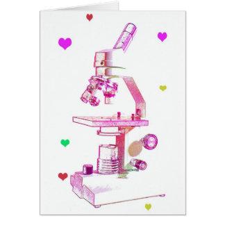 microscope in pink greeting card