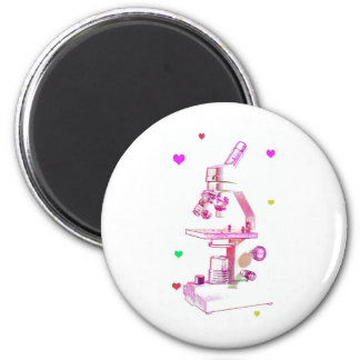 microscope in pink 6 cm round magnet