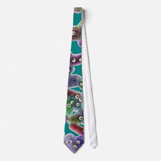 Microscopic Unicellular Organism -Teal Background Tie