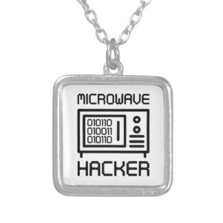 Microwave Hacker Silver Plated Necklace