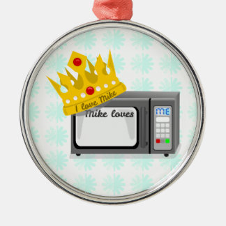 Microwave is King Round Metal Christmas Ornament
