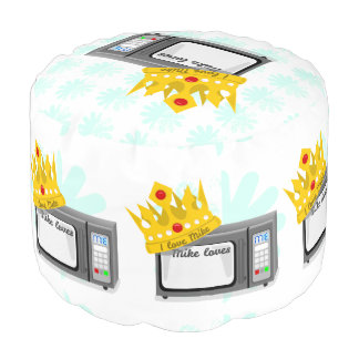Microwave is King of the Kitchen Crown Round Pouffe